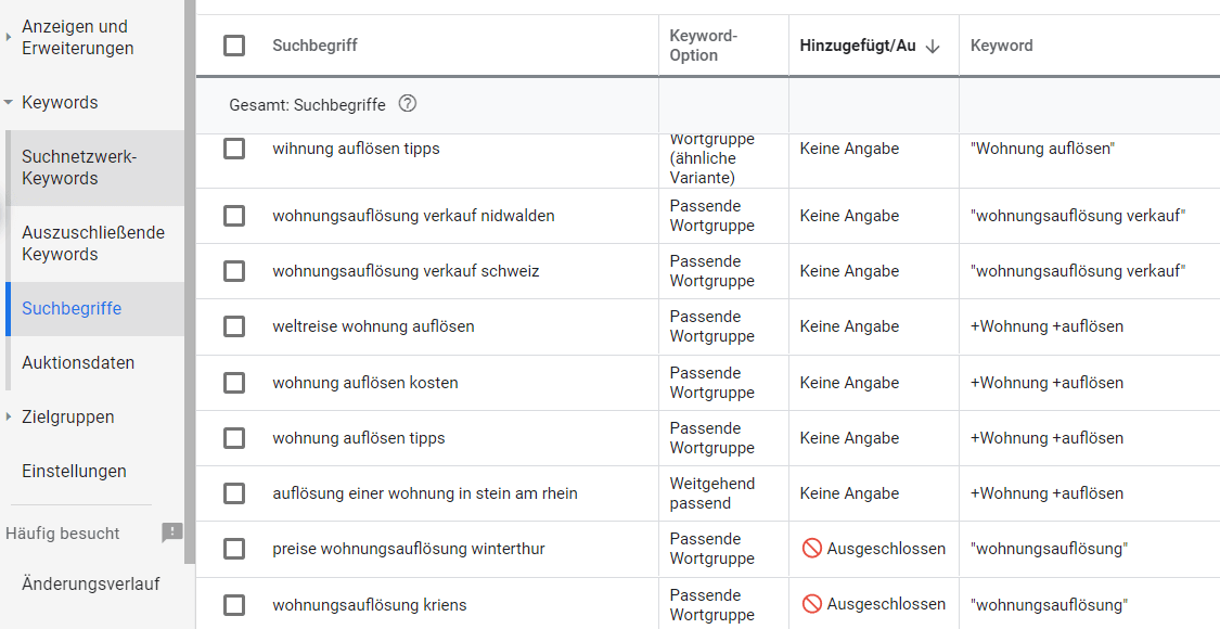 Ansicht der Suchbegriffe im Google Ads Konto mit de Anzeige der Spalte der auslösenden Keywords