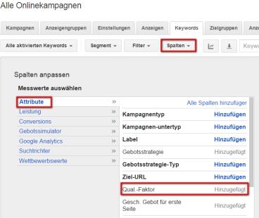 Google Adwords Spalte für den Qualitätsgrads des Keywords