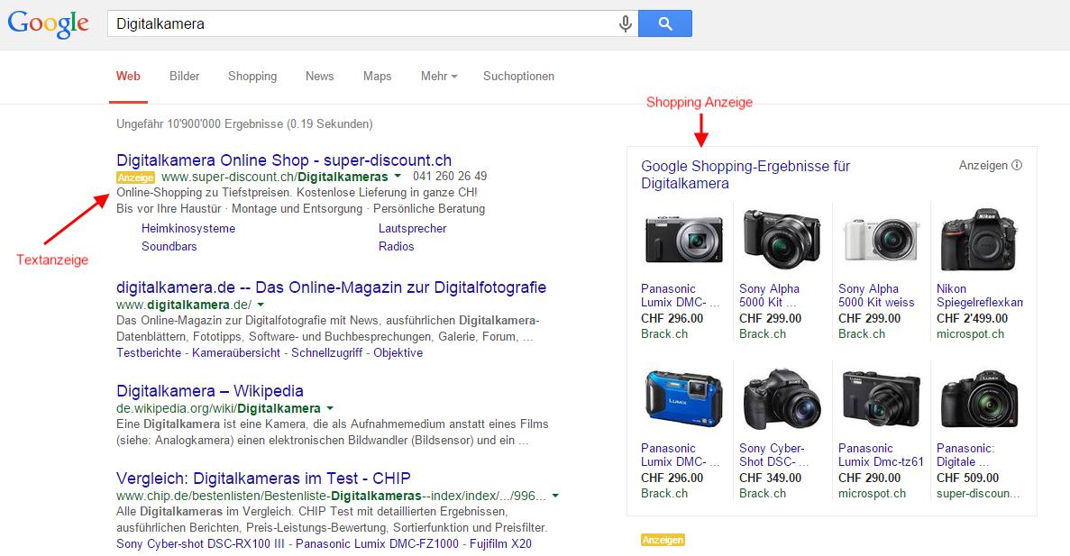 Google Werbung im Suchnetzwerk mit AdWords