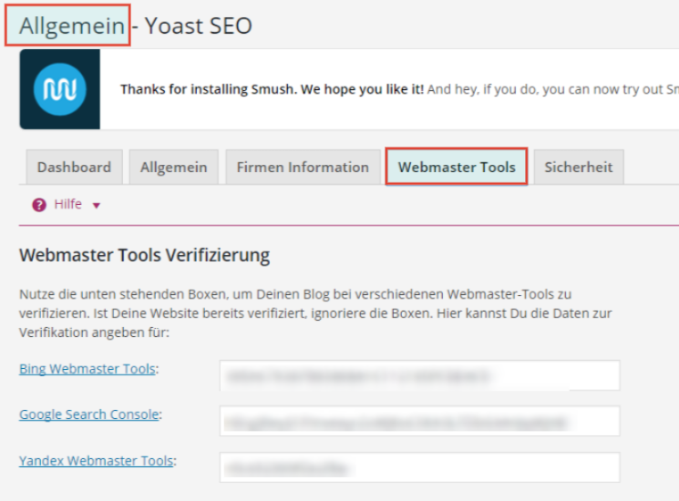 Die Search Console lässt sich über das WordPress Plugin Yoast SEO einfach bestätigen.