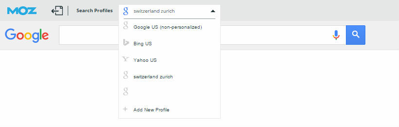 Das Search Profil der MozBar hilft, die lokalem SERP zu analysieren.