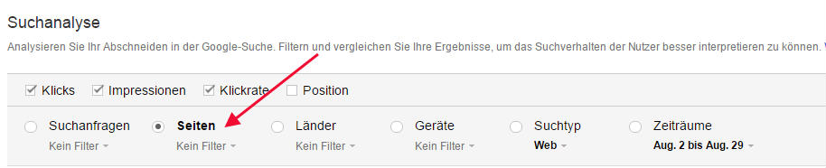 Suchbegriffe ansehen bei der Google Search Console Seitenansicht