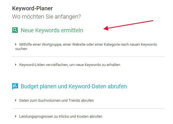 Keyword Ideen mit dem Keyword-Planer von Google