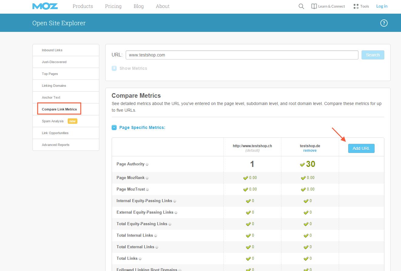 Keywords-Analyse Mitbewerber-Analse mit dem MOZ Open Site Explorer