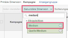 Das Medium kann man in der Sekundären Dimension bei Berichten in Google Analytics aufrufen.