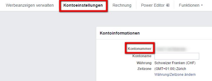 Die Facebook Werbekonto Nummer finden Sie im Menü Facebook Werbeanzeigen verwalten und dann Kontoeinstellungen