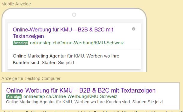 Die erweiterten Google Textanzeigen haben mehr Zeichen und zwei Titel. Teilweise wird der Titel auf zwei Zeilen umgebrochen.
