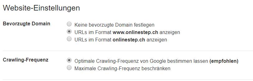 Screenshot der Website-Einstellungen für die bevorzugte Anzeige der Ergebnisse mit oder ohne www.