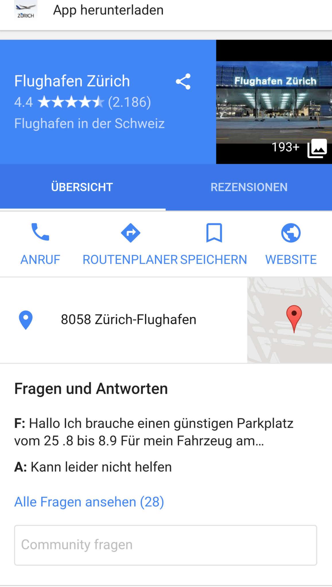 """Bild das die Funktion """"Fragen und Antworten"""" in Google Maps zeigt."""