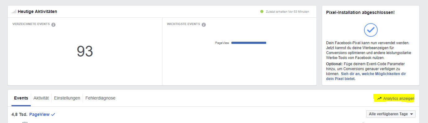 Facebook Analytics Aufruf. Screenshot vom Facebook Event Manager.