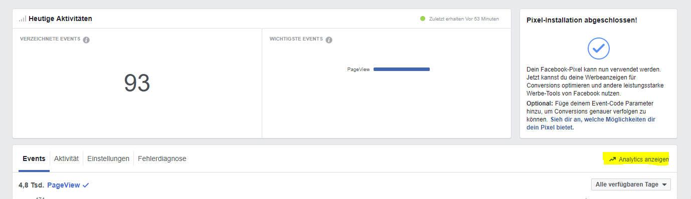 Facebook Analytics Aufruf. Screenshot vom Facebook Event Manager.