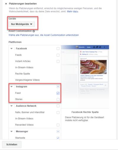 Instagram Ads schalten über den Facebook Werbeanzeigenmanager und Instagram als Placement wählen.