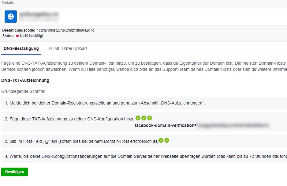 Facebook Domain Verfizierung via Upload von HTML Datei