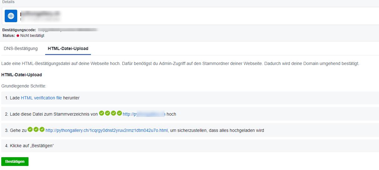 Facebook Domain Verifizierung via DNS Bestätigung
