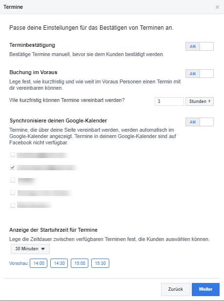Terminvereinbarung Optionen auf Facebook
