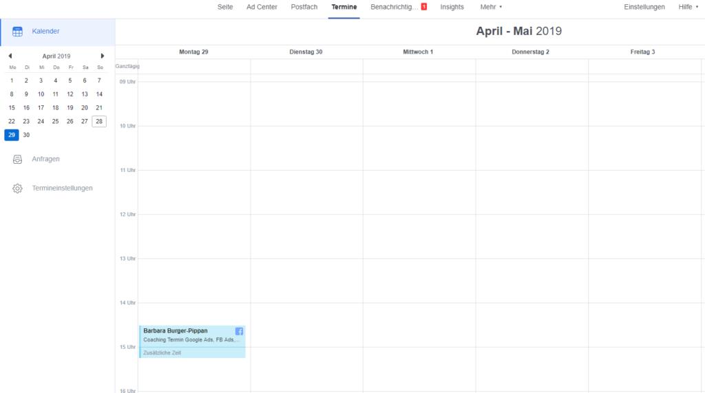 Kalenderansicht des Facebook Tools Termine buchen