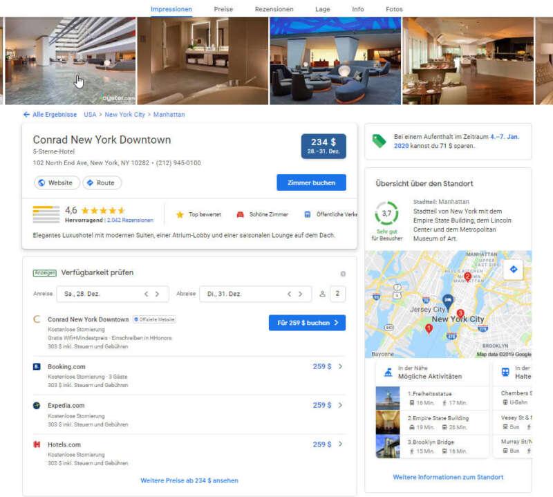 Detailansicht eines Hotels in Google Hotel