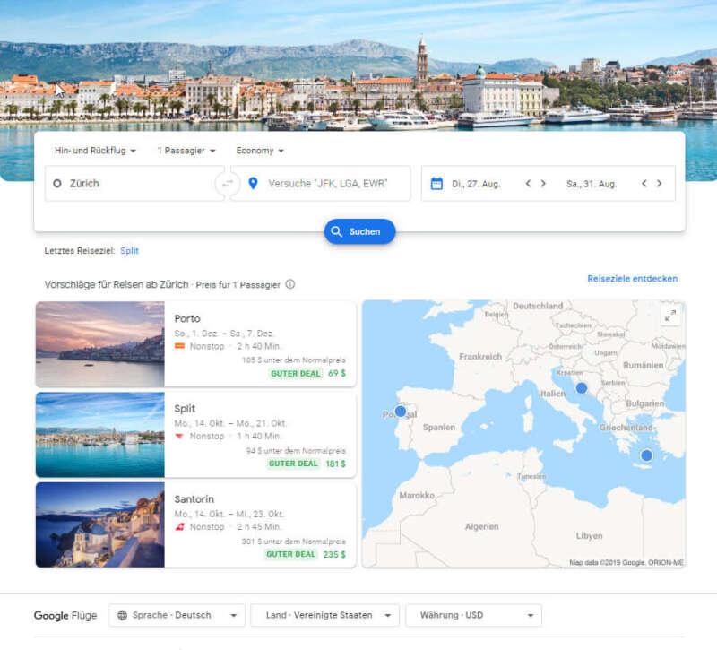 Google Travel - Flüge