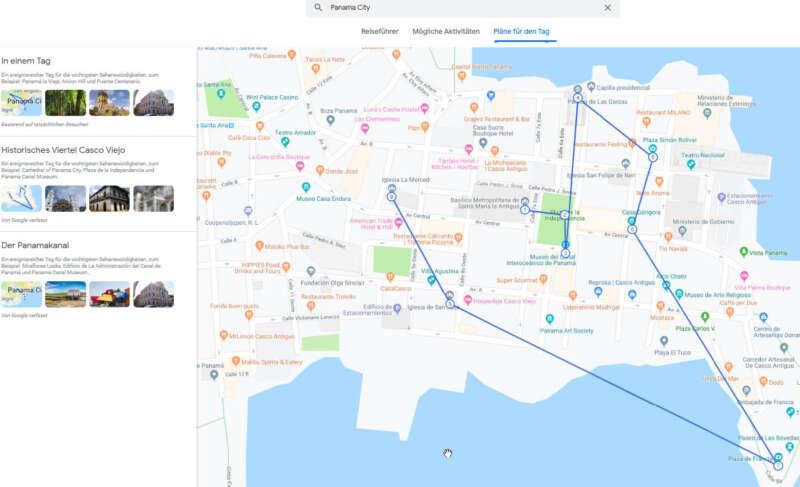 Vorschlag für eine Reiseplanung für einen Tag als Beispiel der Funktionsvielfalt von Google Travel