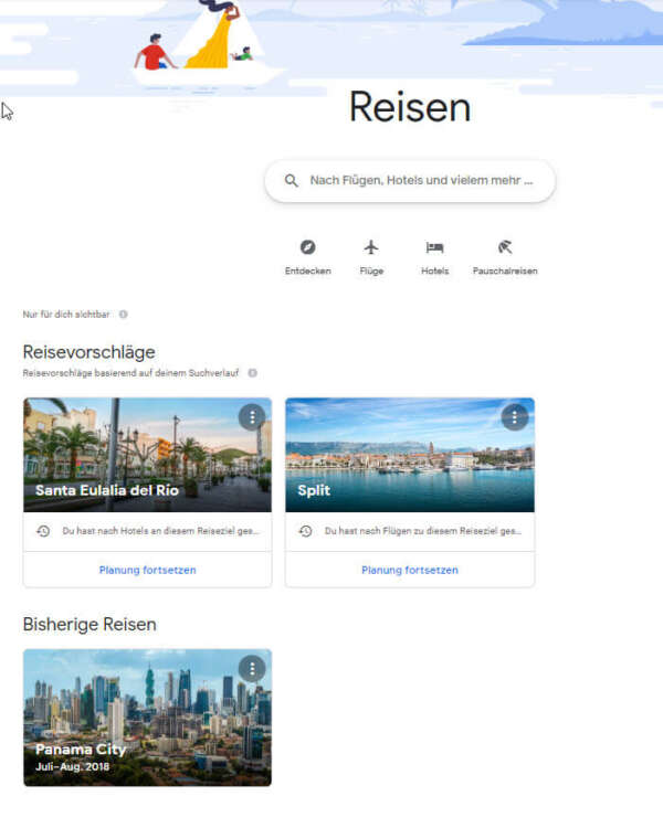 Hotel Travel Reisen Einstiegsbildschirm