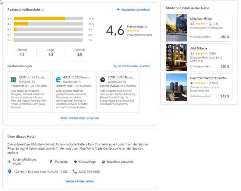 Google Hotel zeigt die Rezensionen von anderen Plattformen auch an