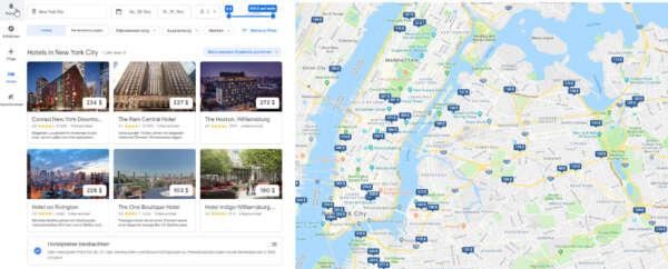 Hotels die in Google Hotel angezeigt werden