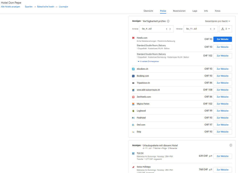 Google Hotel Buchungsansicht eines Hotels