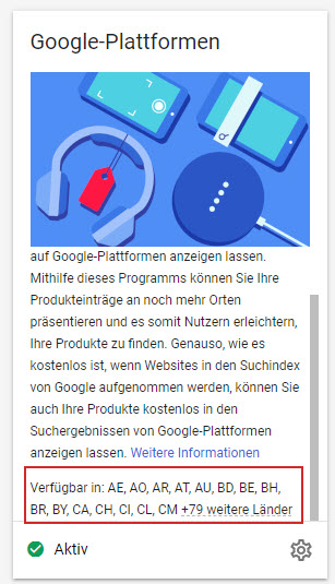 Google Plattformen kann im Merchant Center aktiviert werden