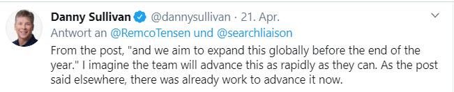 Tweet von Danny Sullivan zu kostenlosten Produkt-Listings auf Google Oberflächen