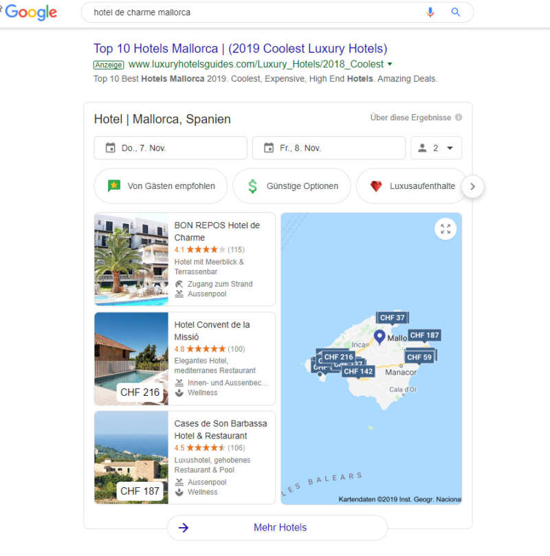 Google Hotelsuche als Snackpack in den Suchergebnissen